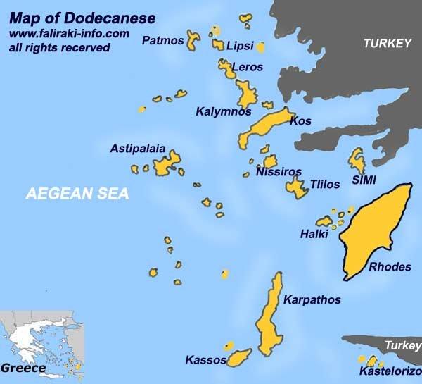 Карта островов Додекандеса