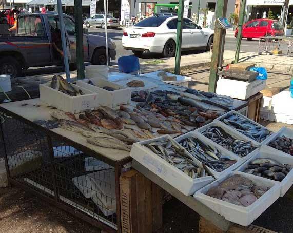 Лотки с рыбой на фруктовом рынке Родоса