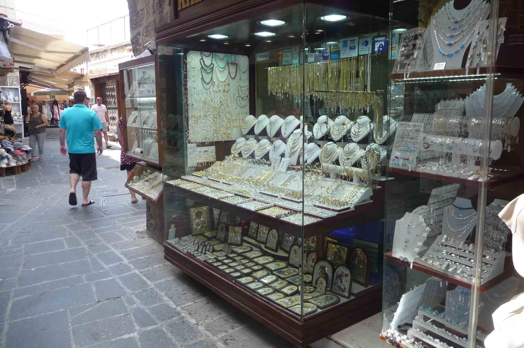 Золотые и серебряные магазины на Родосе