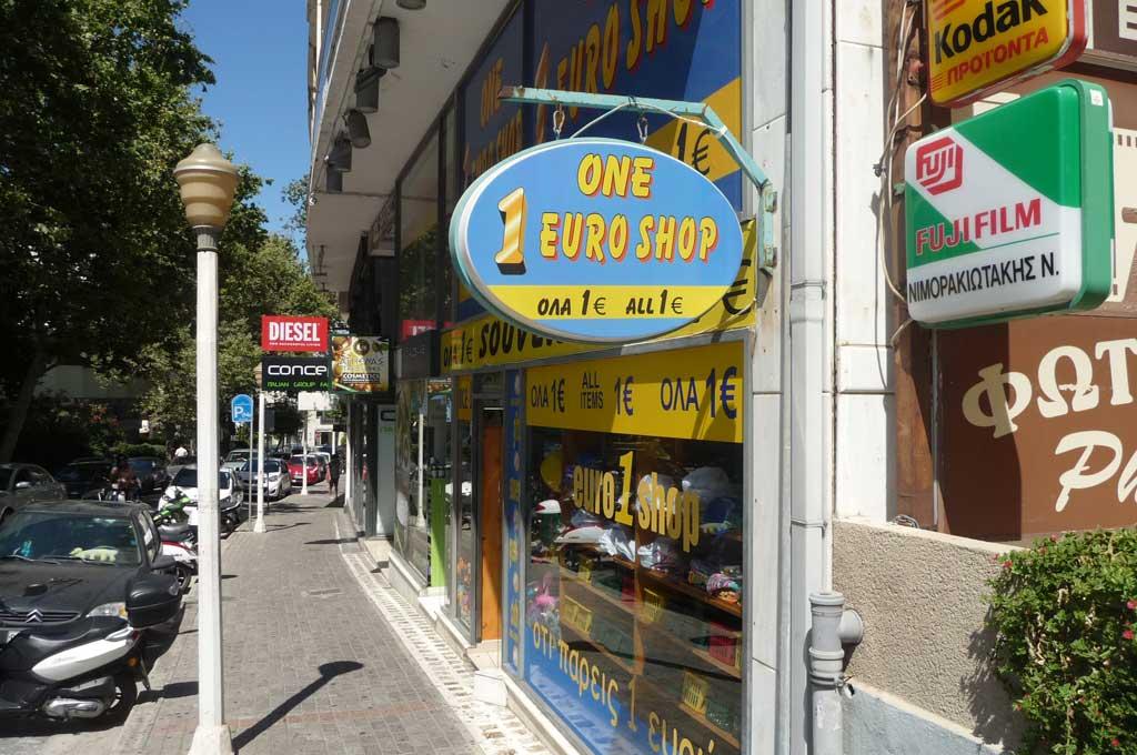 Магазины сувениров все по 1 евро на Родосе