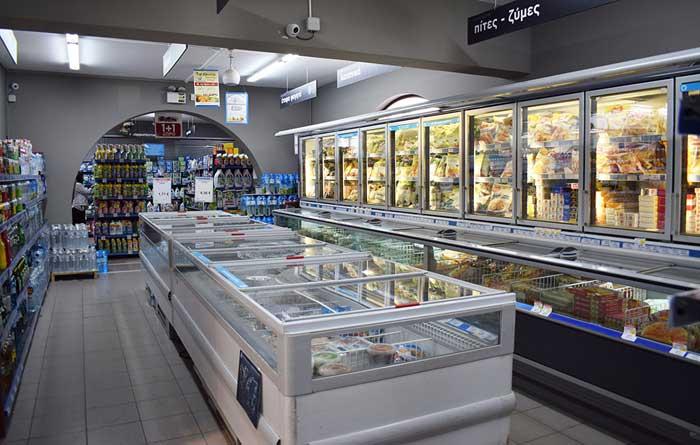 Замороженные продукты в супермаркете АБ Фалираки