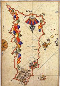 Древняя карта острова Родос
