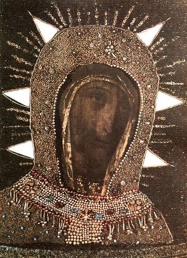 Икона Богородицы Филеримской в жемчужном окладе на острове Родос
