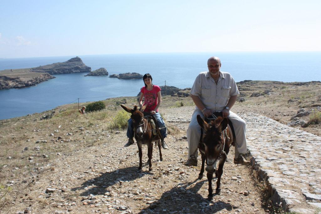 Линдос такси ослики остановка для фотосессии на острове Родос
