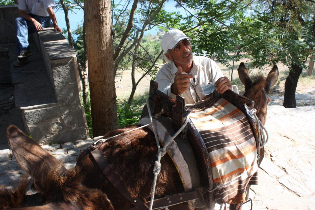 Линдос такси погонщик осликов на острове Родос