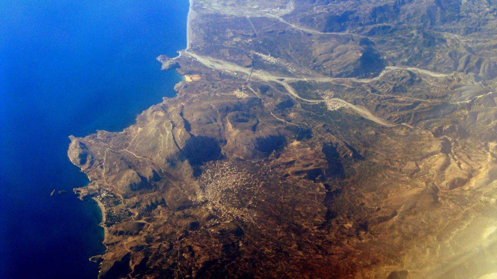 Фото из самолета города Архангелос на острове Родос