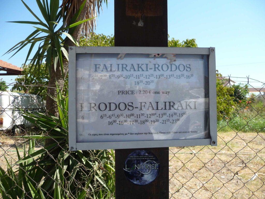 Расписание автобусов на остановках на острове Родос