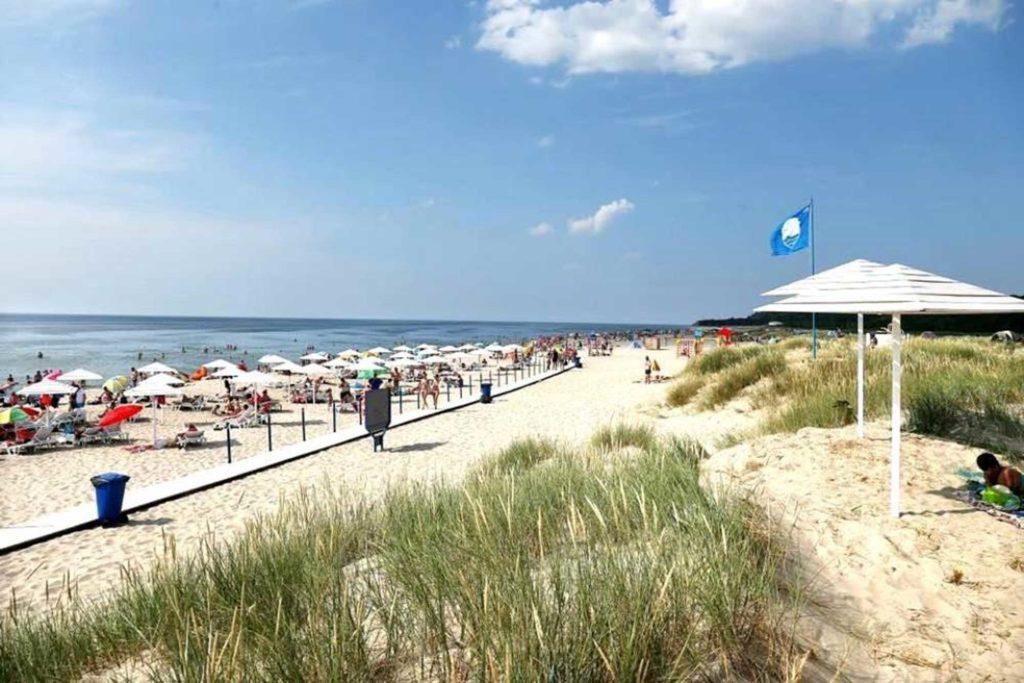 Поднятый на пляже Голубой флаг