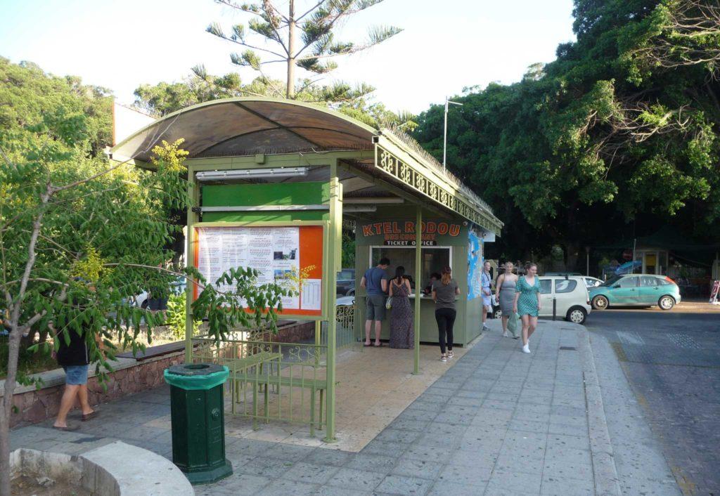 KTEL Bus Station - касса и остановка автобусов по средиземноморскому побережью Родоса
