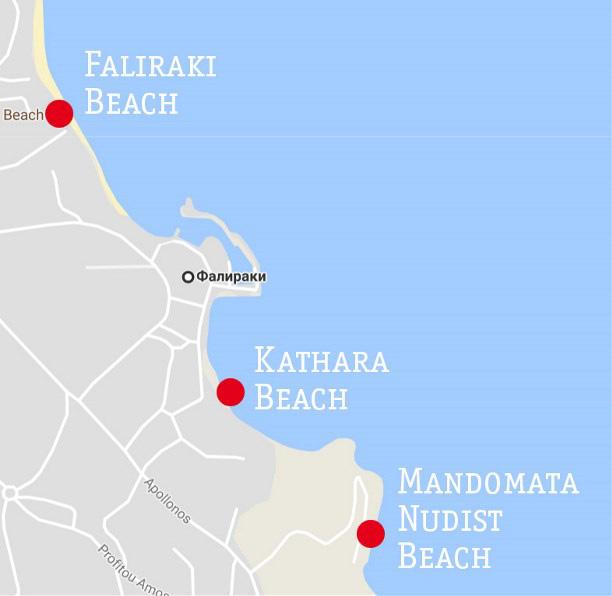 Расположение нудистского пляжа Мандомата