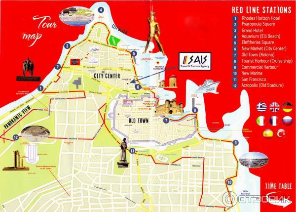 Карта с маршрутом экскурсии на паровозике на Родосе